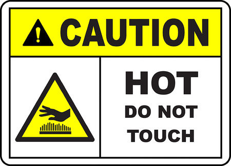 Caution hot do not touch sign Vector illustration.