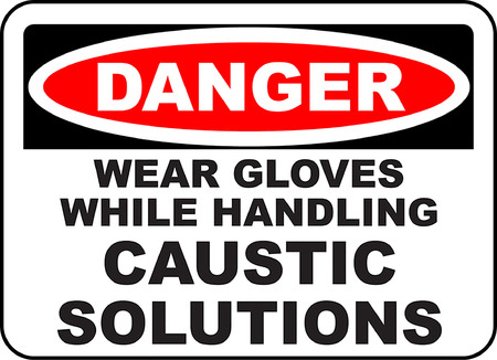 Danger wear gloves while handling caustic solutions illustration.