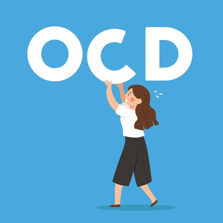 OCD Obsessive Compulsive Disorder Mental Illness Man Woman Fixing Disoriented Word Vector Illustration