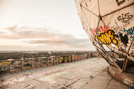 Sunset at the Berlins Teufelsberg. Looks like an industry ruin. An old US listening station in West Berlin. Great place for parties and graffiti. Awesome view during sunset.