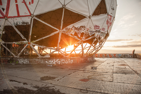 Sunset at the Berlin's Teufelsberg. Looks like an industry ruin. An old US listening station in West Berlin. Great place for parties and graffiti. Awesome view during sunset.