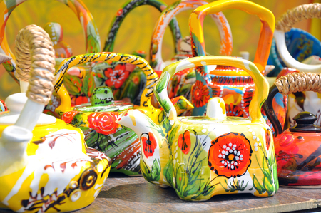 loamy: Handmade traditional painted decorated russian ceramics Stock Photo