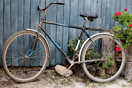 leinster: Old  bicycle near a old  blue wooden fence in village and flowers on stubs Stock Photo