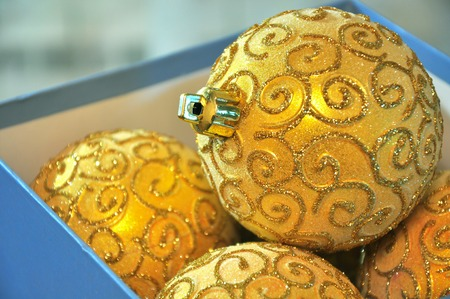 Brilliant Gold Christmas Tree Decorations In A Box Stock Photo Enchanting Christmas Tree Decorations In A Box