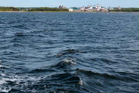 Solovetsky Monastery as seen from the White Sea Stock Photo