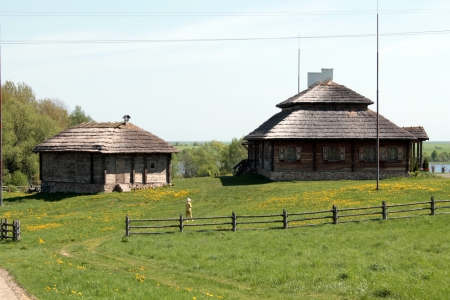 farmstead: Rural building in Eastern Europe Stock Photo
