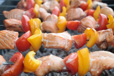 Shashlik with salmon, yellow pepper and tomato