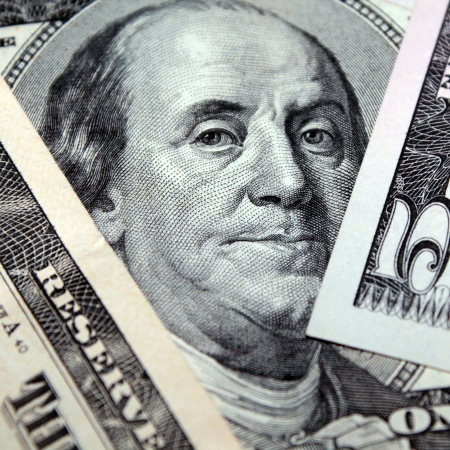 benjamin franklin: Benjamin Franklin on 100 dollars Stock Photo