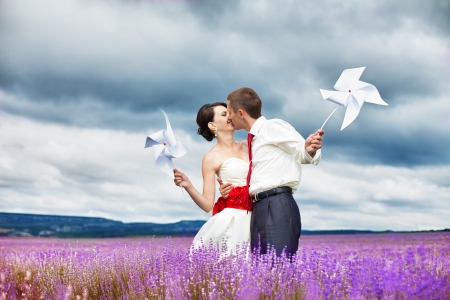 Happy young couple in a lavender field. Wedding day. A series of photos in my portfolio Stock Photo - 16270654