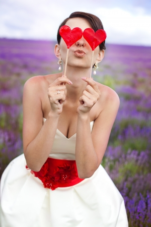 Happy young bride in a lavender field  Wedding day  A series of photos in my portfolio  photo