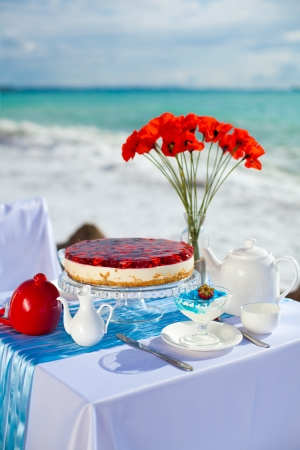 Fantastic dinner sweets near the sea on wedding day  Decoration of table  Stock Photo - 16291612