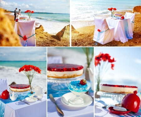Fantastic dinner sweets near the sea on wedding day  Decoration of table  Collage photo