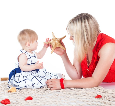 Young beautiful family Mum and little daughter posing in the studio on a white background  photo