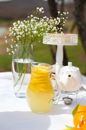 A beautiful wedding table decoration with stylized orange  A series of photos in my portfolio  photo