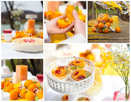 Collage of setting for a wedding, style in orange  Wedding bouquet of oranges, pie and cake  photo