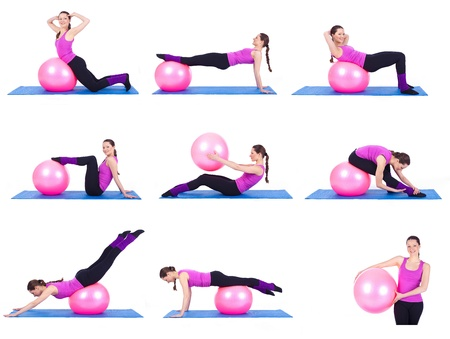A healthy young woman exercising with fit-ball in gym Imagens - 16306415