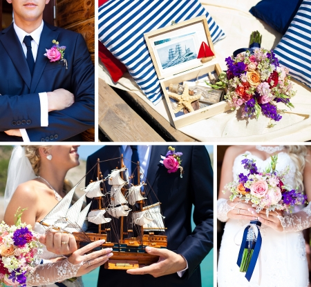 Collage of images, decorations on the marine wedding  Bride and groom with colorful ship, wedding bouquet with beautiful colors, dark blue suit of groom, sea shells at the wedding in the summer