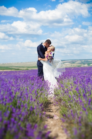 groom and bride: A young couple in love bride and groom, wedding day in summer  Enjoy a moment of happiness and love in a lavender field  Bride in a luxurious wedding dress on a background bright blue sky with clouds