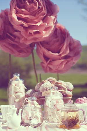 outdoor wedding: Fantastic dinner sweets on wedding day  Decoration of table  A series of photos in my portfolio