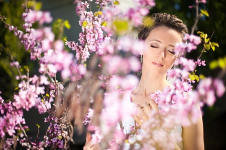 Nature close-up portrait of a bride on a background flowering acacia  The wedding day in the spring  photo
