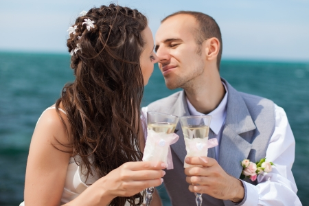 beautiful young couple in love bride and groom celebrating their wedding day with champagne on the background Sea  Stock Photo - 16519571