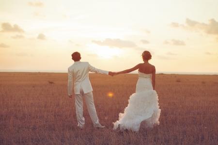 Junges Paar in der Liebe Braut und Bräutigam posiert in einem Feld mit gelben Gras auf Sonnenuntergang Hintergrund in ihrem Hochzeitstag im Sommer Series Standard-Bild - 16536974