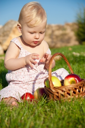 The child, a basket of apples Stock Photo - 16583110