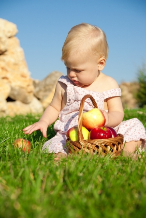 The child, a basket of apples Stock Photo - 16583099