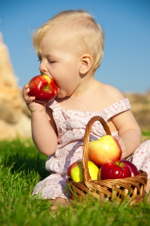 The child, a basket of apples Stock Photo - 16583112