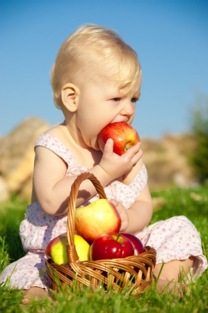 The child, a basket of apples Stock Photo - 16583115