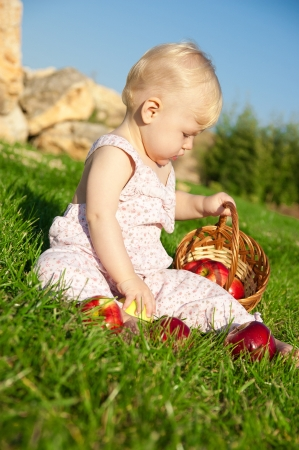 The child, a basket of apples Stock Photo - 16583116
