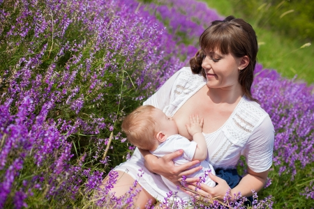 adult breastfeeding: Mother breastfeeding her baby in a field of purple flowers