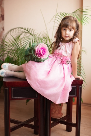 Beautiful little girl model view in a luxury pink dress and flower posing at home on the table  Stock Photo - 16711030