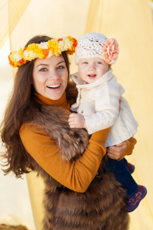 happy mother and her little baby playing outdoor  Series  Stock Photo - 16884094