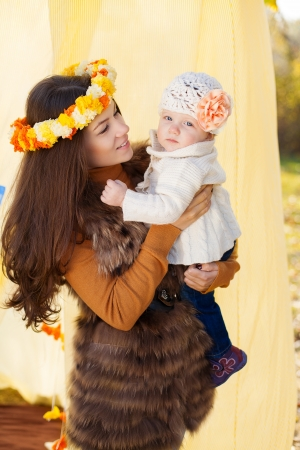 happy mother and her little baby playing outdoor  Series  Stock Photo - 16884081