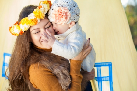 happy mother and her little baby playing outdoor  Series Stock Photo - 16884104