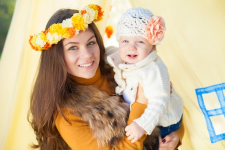 happy mother and her little baby playing outdoor  Series  Stock Photo - 16884100
