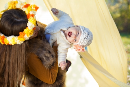 happy mother and her little baby playing outdoor  Series  Stock Photo - 16884093