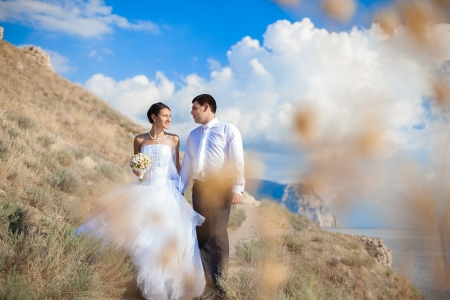 Happy couple wedding  Walk at mountains near the sea  Series photo