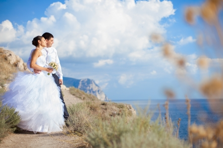 Happy couple wedding  Walk at mountains near the sea  Series