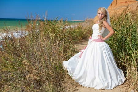 bride on beach standing in the reeds, posing in her wedding day in summer Stock Photo - 17152730