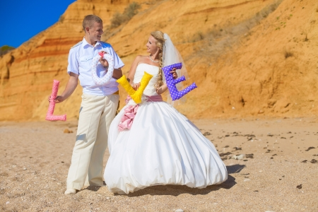 wedding  couple posing on the shore and holding the letters with the word  LOVE   Stock Photo - 17152720