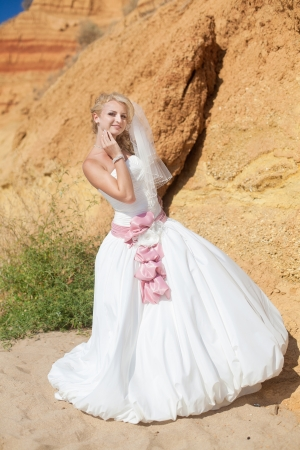 Attractive bride posing standing on the beach on background mountain photo