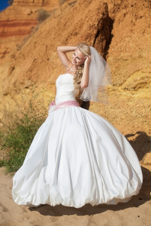 Attractive bride posing standing on the beach on background mountain Stock Photo - 17152776