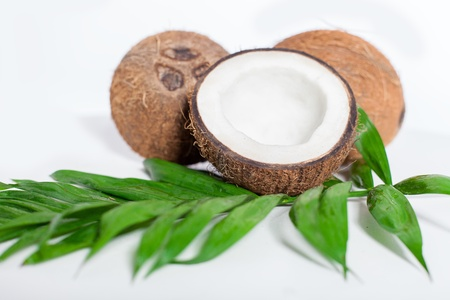 coconut and bamboo over white background Stock Photo - 17229231