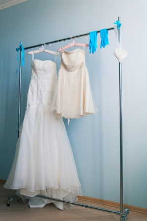 wedding dress and accessories on hanger Stock Photo - 17448928