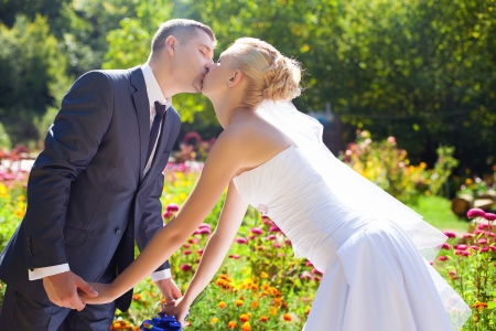 wedding couple kissing outdoor Stock Photo