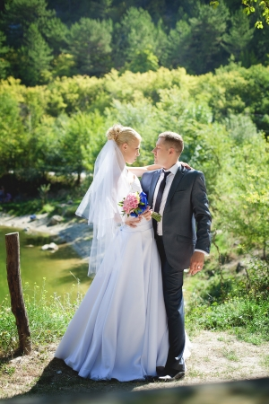 wedding couple in love bride and groom over lake background Stock Photo - 17563962