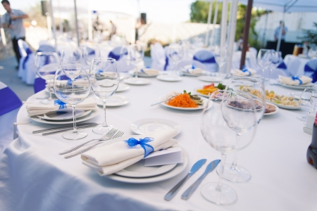 gourmet meal: Wedding banquet table