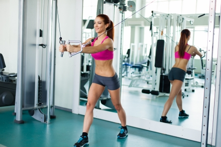 Attractive young fitness model works out on training apparatus inside in fitness center Stock Photo - 19045556